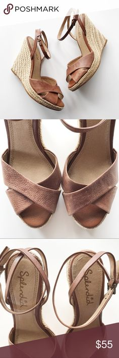 """Splendid Crisscross Ankle Strap Wedges Anthropologie Splendid Crisscross Ankle Strap Wedges *Size US 10 *Genuine leather upper and man made soles / Adjustable straps / Brown color / 4.75"""" heels and 0.75 platforms / Slightly distressed look leather  *In great pre-loved condition with very light signs of wear.  *No trade Anthropologie Shoes Espadrilles"""