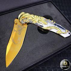 Gold Dragon Blade with Case - Blade City Dragon Blade, Blade City, Dangerous Love, Gold Dragon, Fantasy Weapons, Tactical Knives, Outdoor Gear, Sword, Samurai