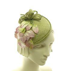 Springtime Cocktail Hat for Women - Straw Fascinator - Spring Green with  Pink Velvet Leaves