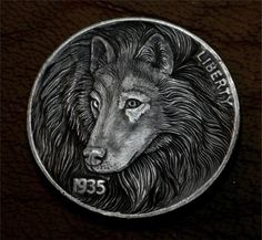 "Hobo Nickel ""Born To Be Wild"" Timber Wolf Coin Howard Thomas"