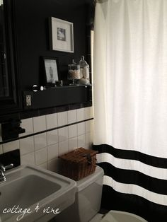 what to do with vintage black and white tile bathroom walls