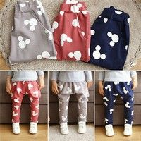 Wish   New Stylish Kid Printed Pant Boys Girls Lovely Pure Cotton Leggings Crotch Wide Leggings Pant Trousers Outwear
