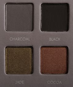 Charcoal, Black, Jade, and Cocoa from LORAC's #PROPalette2, photo by @temptalia.
