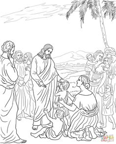 Jesus Blesses the Children coloring page from Jesus Mission Period category. Select from 25409 printable crafts of cartoons, nature, animals, Bible and many more. Jesus Coloring Pages, School Coloring Pages, Free Printable Coloring Pages, Coloring Book Pages, Coloring Pages For Kids, Bible Crafts, Bible Art, Jesus Book, Bless The Child