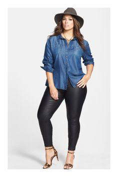 One day, I'llll grow a pair and wear hats out and about. Sejour Chambray Shirt & City Chic Stretch Skinny Jeans (Plus Size) available at Not a fan of the pants but this is a fun low key stylish look Plus Size Blog, Look Plus Size, Plus Size Girls, Plus Size Women, Plus Size Style, Curvy Outfits, Fall Outfits, Fashion Outfits, Womens Fashion