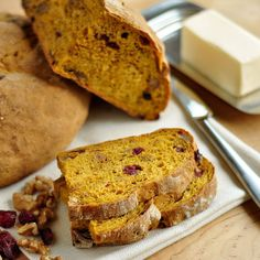 One of my all-time favorite recipies, from The Kitchn:  Cran-Walnut Pumpkin Toasting Bread. It makes crisp fall mornings even better.