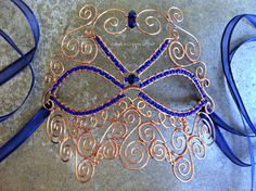Masquerade Mask, Venetian Gala Mask, Copper Wire-Wrapped Mask, Beaded Costume Mask, Copper Wire Halloween Mask