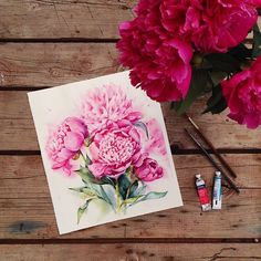 One of my favorite flowers  Мои любимые Winsor&newton on Saunders Waterford 32x29 cm