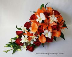 Red orange off-white Cascade cascading bouquet Real Touch flowers Tiger lilies roses calla lilies orchids silk wedding flowers Bouquet En Cascade, Cascading Wedding Bouquets, Orange Wedding Flowers, Fall Wedding Bouquets, Bridal Bouquets, Diy Flowers, Wedding Corsages, Bride Flowers, Wedding Dresses