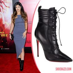 Kylie Jenner in Christian Louboutin Mado Black Leather Lace-Up Boots - ShoeRazzi