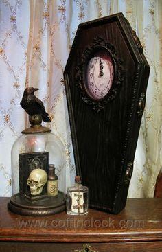 Black Classic Coffin Clock. ORDER FROM: www.wintersasylum.com