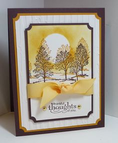 Stamps: Lovely as a Tree Paper: Choclate Chip, More Mustard, Very Vanilla Ink: Chocolate Chip, More Mustard Accessories: grosgrain ribbon, brads Tools: ticket punch, Big Shot, embossing folder, dimensionals