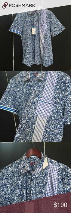 Robert Graham Designer shirt.  Style:  Rosy BOA Collect Classic Robert Graham designer shirts.  This sophisticated short sleeve contrasting pattern shirt is a hit in the Robert Graham X COLLECTION. Robert Graham Shirts Casual Button Down Shirts