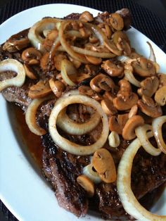 Rib Eye Steak with Mushroom and Onion. I like my onions grilled longer though