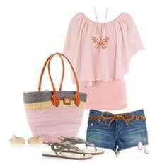 Pink & Denim. Love that bag.