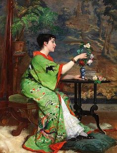 Frans Verhas (Belgium painter) 1827 - 1897,Jeune Femme en Kimono dans un Intérieur (Young Woman in a Kimono in an Interior), s.d. oil on panel signed bottom right, 65 x 48 cm.