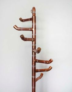 Free Standing Coat Rack, Copper Coat Tree with 8 Hooks, Handcrafted Modern Stand Alone Rack with Brass Gate Valve. Beauty for the Hallway