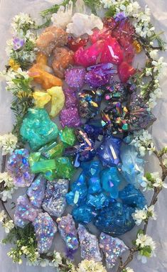 Aura quartz in my shop out to charge :D Minerals And Gemstones, Rocks And Minerals, Crystal Aesthetic, Crystal Magic, Crystal Shop, Witch Aesthetic, Crystal Collection, Rocks And Gems, Healing Stones