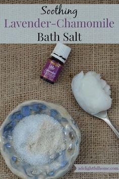 Soothing Lavender-Chamomile Bath Salt Homemade Scrub, Diy Scrub, Homemade Gifts, Chamomile Essential Oil, Essential Oils, Lavender Bath Salts, Lavender Soap, Bath Salts Recipe, Lavender Recipes