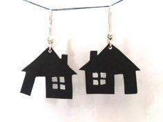 Items similar to Houses earrings - shrink plastic earrings on Etsy Diy Shrink Plastic Jewelry, Plastic Earrings, Plastic Jewellery, Glue Crafts, Diy Crafts, Shrink Art, 3d Printed Jewelry, Plastic Design, Shrinky Dinks