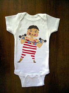 Strongest Man Alive Colossal Baby One Piece Bodysuit, Romper, Jumper, Onesie From TrulySanctuary, Great Baby Shower Gift, Graphic Tee, First Birthday Gift Or Party Favor $14.99
