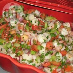 An appetizer of revolutionary proportions. Ceviche includes 'raw' fish that is 'cooked' in lime juice, prep time is a bit long but worth it. Shrimp is optional but suggested. Fish Dishes, Mexican Dishes, Seafood Dishes, Seafood Recipes, Cooking Recipes, Healthy Recipes, Freezer Recipes, Freezer Cooking, Cooking Tips