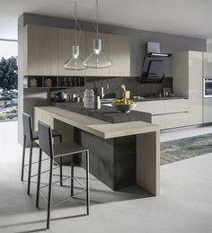 36 Popular Minimalist Kitchen Design Ideas You Never Seen Before - e really have come a long way in cooking and kitchen designs. A modern kitchen is now quite different to early kitchens thanks to developments in elec. Kitchen Room Design, Luxury Kitchen Design, Contemporary Kitchen Design, Best Kitchen Designs, Home Decor Kitchen, Kitchen Layout, Rustic Kitchen, Interior Design Kitchen, New Kitchen