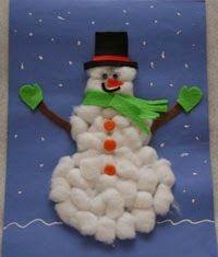 Membuat orang-orangan salju dari kapas