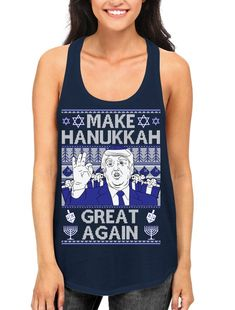 29364fb76afc17 Trump Make Hannukah Great Again Donald Trump Dumb President Ugly Sweater  Holiday Gift Dreidel Menora Shipping