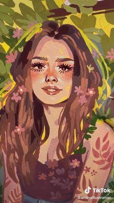 Pretty Art, Cute Art, Portrait Art, Potrait Painting, Acrylic Portrait Painting, Painting Of Girl, Matte Painting, Watercolor Portraits, Posca Art