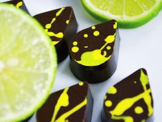 Our Lemon-Basil dark chocolates are crafted using hand-squeezed local limes and fresh hand-picked basil from our organic garden. #indulgechocolat # #lemonbasil #darkchocolate