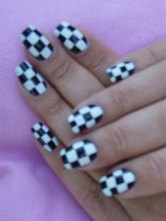 Checkered flags Nail Station, Prom Dance, Checkered Flag, Fox Racing, Black And White, Crystals, Nails, Flags, Engine