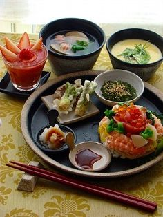 Would be happy if this was my last meal Japanese Dishes, Japanese Food, Asian Recipes, Healthy Recipes, Plate Lunch, Food Concept, Cafe Food, Food Presentation, Food Plating