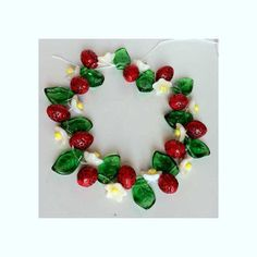 Strawberry Fruit and Leaf Beads Czech Glass Great for Charms Jewelry Making on Etsy, $7.10