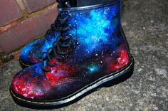 Hand painted Union Jack Inspired Galaxy Space Cosmic Print Dr Martens ALL SIZES.. £175.00, via Etsy.