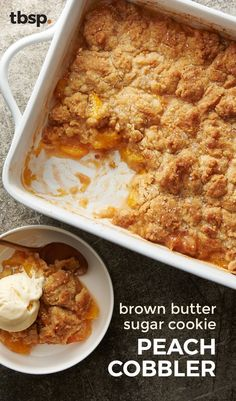 Peaches, cinnamon and butter serve as the base for this brown butter sugar cookie crusted cobbler. It might be too soon to call this the dessert of the summer, but we're pretty convinced.