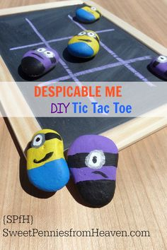 This DESPICABLE ME Minions DIY Tic Tac Toe board game is so much fun to make AND play with the kids! Perfect for rainy days inside, playing outside or even on road trips!
