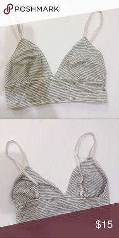 a5816306be15c Madewell Longline Bralette in Grey Stripe Gently worn