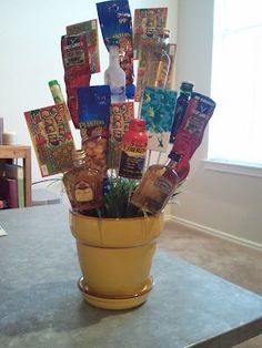 "DIY ""Man Bouquet."" What a great idea for your husband, fiance, boyfriend, dad, friend! Blog has great ideas for fillers for this gift."