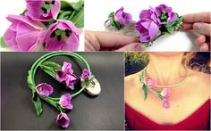 Unique HANDMADE Lilac Tulips NECKLACE SET Whole by SweetyBijou