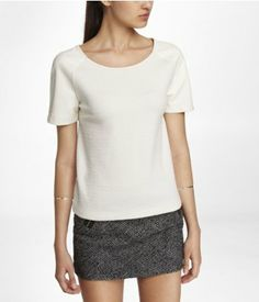 (Minus the) leather sleeve textured jacquard tee - 50% off at Express for Black Friday!
