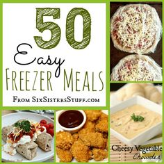 50 Easy freezer meals ( ideas for make ahead meals for new baby time) Slow Cooker Freezer Meals, Make Ahead Freezer Meals, Crock Pot Freezer, Freezer Cooking, Slow Cooker Recipes, Crockpot Recipes, Cooking Tips, Easy Meals, Cooking Recipes