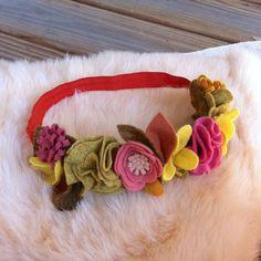 Felt Flower Crown // Dusty Pink Mustard Yellow by fancyfreefinery, $23.50