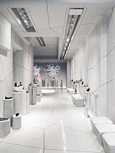 Futuristic Interior, Melissa Shoes store, New York store design Shoe Store Design, Retail Store Design, Commercial Design, Commercial Interiors, Tienda Fashion, Design Comercial, Retail Interior Design, Retail Concepts, Store Interiors