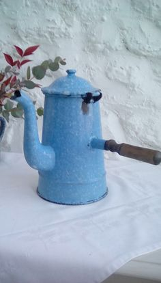 Vintage French enamel chocolate or coffee pot by FrenchVintageMaison on Etsy