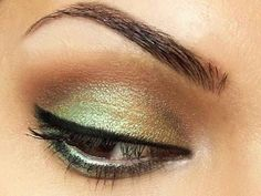 Gold, Emerald, and brown eye makeup. Would definitely make the eyelashes more dramatic. Perfect for Mehndi night.