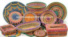 Southwest and Beyond - Baskets Mexican Hand Woven Palm Multi Colored