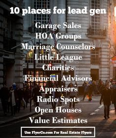 10 Unexpected Places to Generate Leads - good marketing advice for real estate professionals Real Estate School, Real Estate Career, Real Estate Leads, Real Estate Business, Selling Real Estate, Real Estate Tips, Real Estate Sales, Real Estate Investing, Real Estate Marketing