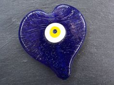 Extra Large Navy Blue Evil Eye Nazar Heart Shaped Glass Bead