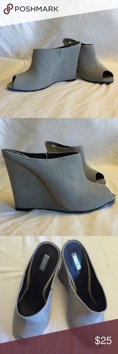 """Schutz Nobuck Ciment Wedge Slide Sandal Open-toe slide on wedge in grey suede. 5"""" heel. Size 9.5. Never been worn. SCHUTZ Shoes Wedges"""